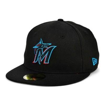 ニューエラ メンズ 帽子 アクセサリー Miami Marlins 100th Patch 59FIFTY Cap Black