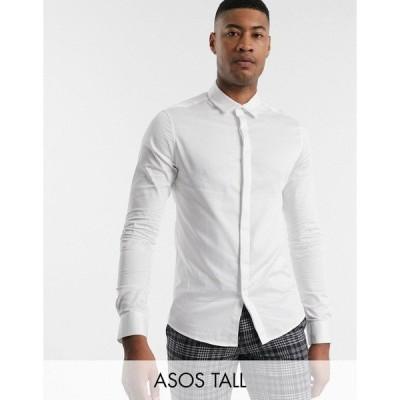 エイソス メンズ シャツ トップス ASOS DESIGN Tall skinny fit sateen shirt in white White