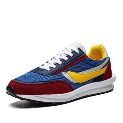 新しい靴男性Zapatillas Hombreジョギングカジュアルシューズ通気性メッシュスニーカーファッション Blue Red Yellow 8.5