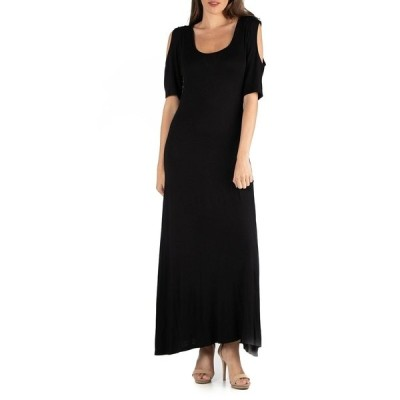 24セブンコンフォート ワンピース トップス レディース Half Sleeve Open Shoulder Maxi Dress Black