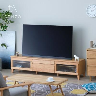テレビ台 おしゃれ 北欧 ローボード 180 木製 アルダー 無垢 収納 完成品 ナチュラル 55インチ ガラス フロック ISSEIKI