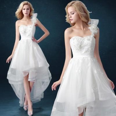 ウエディングドレス 安い トレーンドレス 前ミニ ウェディングドレス 結婚式 ロングドレス 二次会 花嫁 パーティードレス aライン ブライダル wedding dress