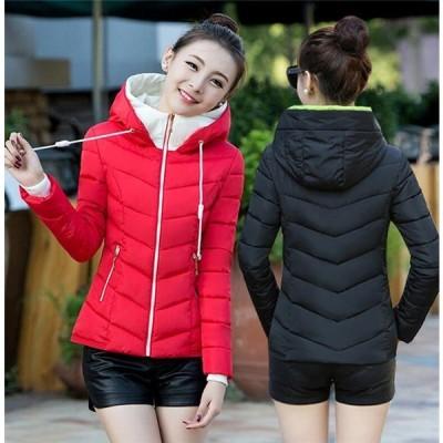 中綿ジャケット レディース ショート コート ダウンコート アウター フード付き スリム 冬 着痩せ 防寒服