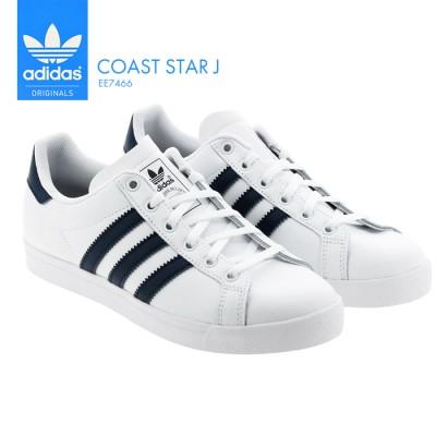 アディダス コーストスターJ レディース ジュニア サイズ スニーカー シューズ 靴 adidas COAST STAR J 運動 スポーツ 通学 通勤 白靴 シンプル デザイン あでぃだす オリジナ