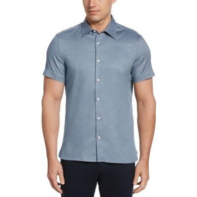 ペリーエリス シャツ トップス メンズ Men's Solid Textured Short Sleeve Button - Down Shirt Cerulean