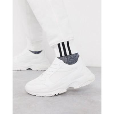 エイソス メンズ スニーカー シューズ ASOS DESIGN sneakers in white mesh with chunky sole White