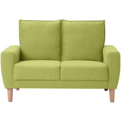 オーエスジェイ(OSJ) ソファ 二人掛け sofa グリーン 約幅120×奥行76×高さ79.5cm 天然木脚 肘付き コンバクト おしゃれ 背もた