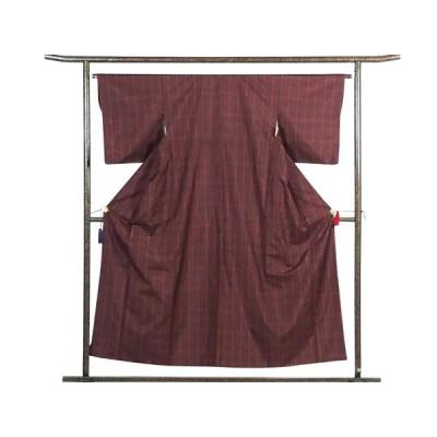 リサイクル着物 紬 正絹茶色地格子柄袷紬着物