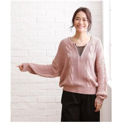セーター ニット 大きいサイズ レディース ピグメント加工 ジップケーブル プルオーバー  LL/3L ニッセン
