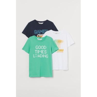 H&M - プリントTシャツ 3枚セット - ブルー