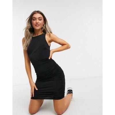 ミスセルフフリッジ レディース ワンピース トップス Miss Selfridge ruched bodycon mini dress in black Black