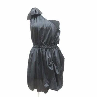 【中古】ムルーア MURUA ミニワンピース ひざ丈 リボン ノースリーブ F 黒 ブラック /YK レディース