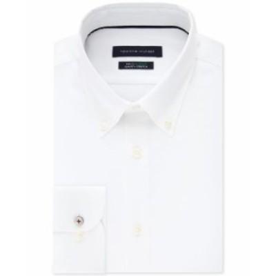トミー ヒルフィガー メンズ シャツ トップス Men's Slim-Fit TH Flex Non-Iron Supima Stretch White Dress Shirt Bone