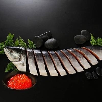 【北海道根室産】時鮭半身姿切身900g、いくら醤油漬け100g×2P B-42062
