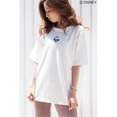 【ヴァンスエクスチェンジ】 ミッキーワンポイント刺繍Tシャツ レディース ホワイト M VENCE EXCHANGE