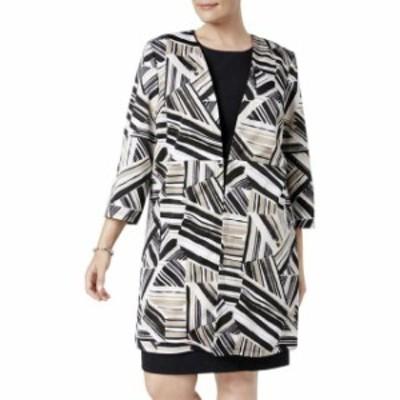 ファッション 衣類 Kasper NEW Brown Womens Size 20W Plus Abstract-Print Ottoman Jacket