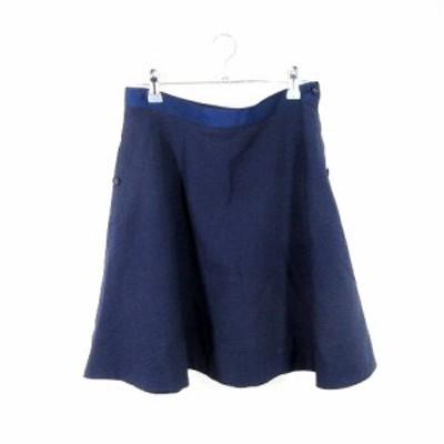 【中古】シンプリシテェ Simplicite スカート フレア ミニ 無地 38 紺 ネイビー /MO レディース