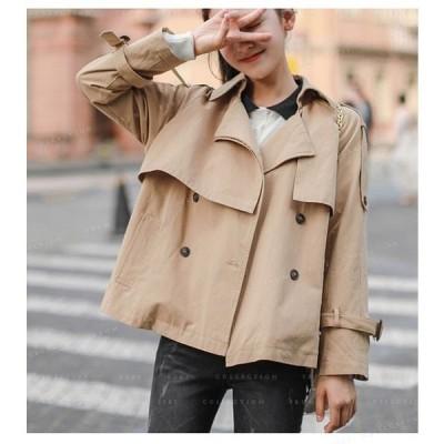 アウターショートコートジャケットレディース薄手ショート丈ゆったり体型カバー秋服カジュアルオシャレ新作女性大