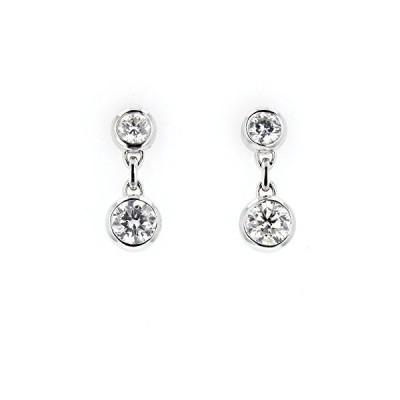 ダイヤモンド Dangle Earrings, 14kt ホワイト ゴールド ダイヤモンド Dangle Earrings, 1.10(海外取寄せ品)