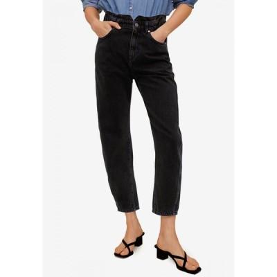 マンゴ Mango レディース ジーンズ・デニム ボトムス・パンツ Straight Slouchy Jeans Black