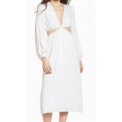 Wayf ウェイフ ファッション ドレス WAYF Womens Cutout Long Sleeve Ivory White Size XXL Sheath Dress