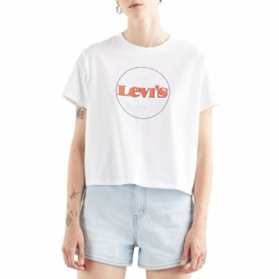 リーバイス Levis レディース Tシャツ トップス graphic varsity short sleeve t-shirt New Circle Logo chest Hit White