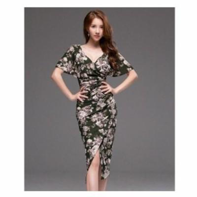 パーティードレス 結婚式 40代 30代 ミモレ丈 袖あり フレア 韓国風 大きいサイズ フォーマルドレス 花柄 ワンピース お呼ばれ 二次会 披