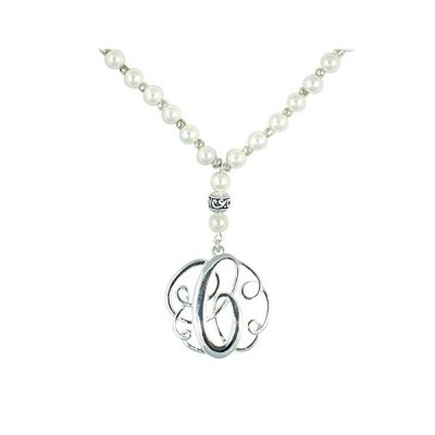 """Monogram Silver Tone Charm 6mm Glass Pearl Body Necklace 30"""" (Silver C Neck"""