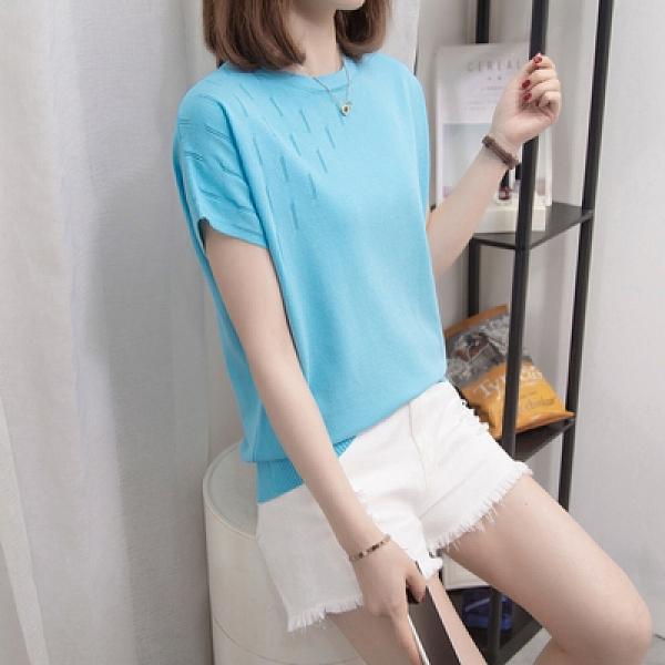 針織上衣中大尺碼女裝L-4XL夏季新款針織衫蝙蝠袖顯瘦T恤上衣女 2212MR26韓衣裳