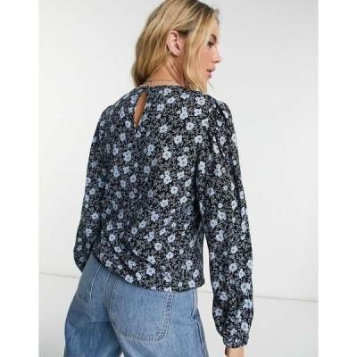 オブジェクト レディース シャツ トップス Object Mila printed blouse in black multi Black