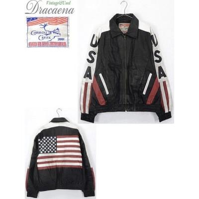 古着 ジャケット USA 星条旗 マルチ デザイン 本革 オール レザー スタジャン ブルゾン XL カルチャー 古着