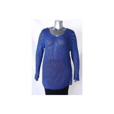 ニューヨークコレクション セーター ニット Ny コレクション ブルー 長袖 オープン ニット V Neck セーター サイズ XL 60LAFO