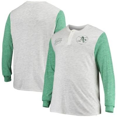 オークランド・アスレチックス '47 Tri-State Logo Tri-Blend Henley Long Sleeve T-シャツ - Heathered Gray