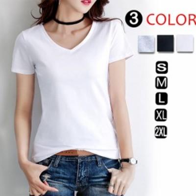 Tシャツ カットソー 大きいサイズ トップス レディース 半袖 薄手tシャツ Vネック ティーシャツ tシャツ コットンtシャツ シンプル リゾ