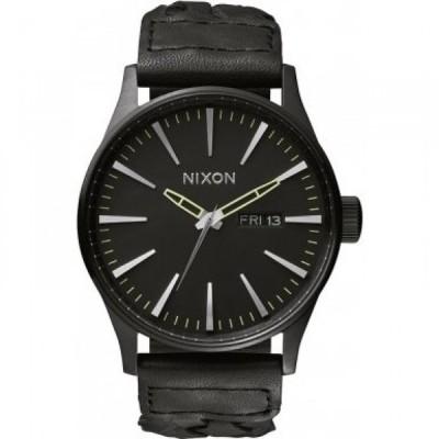 ニクソン 腕時計 メンズウォッチ Nixon A105-1928 Mens The Sentry Leather All Black Woven Watch