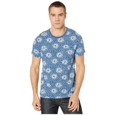 ジェイクルー J.Crew メンズ Tシャツ トップス Wallace & Barnes Slub Jersey Indigo Short Sleeve Tee Watercolor Flower Blue/Black