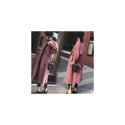トレンチコート レディース スプリングコート 長袖 ロング丈 無地 コート アウター 大きいサイズ 着痩せ 通勤 通学 おしゃれ 春物 新作