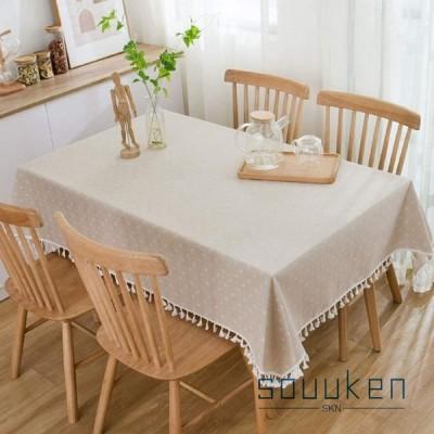 テーブルクロス 綿麻生地 長方形 140×240cm テーブルカバー 幾何学模様 フリンジ かわいい 食卓カバー 防塵 耐熱