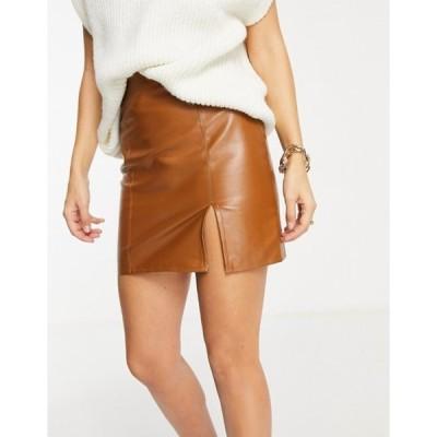 ナーナー レディース スカート ボトムス NaaNaa side split faux leather mini skirt in tan
