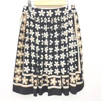 【中古】エムズグレイシー M'S GRACY 美品 スカート 花柄 フレア ギャザー 黒 ブラック 38 約Mサイズ レディース