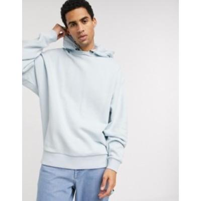 エイソス メンズ パーカー・スウェット アウター ASOS DESIGN oversized hoodie with nylon hood in light blue Plein air