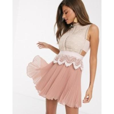 エイソス レディース ワンピース トップス ASOS DESIGN contrast lace mini dress with peplum and pleated hem in pink Pink