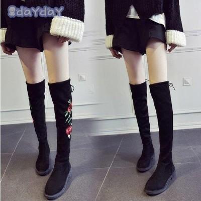 秋冬ブーツ ロングブーツ レディース靴 レディース チャンキーヒール 美脚 歩きやすい 安定 カジュアル おしゃれ  暖か