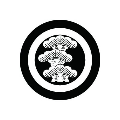 家紋シール 白紋黒地 丸に左三階松 布タイプ 直径40mm 6枚セット NS4-0541W