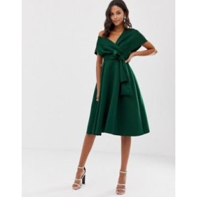 エイソス レディース ワンピース トップス ASOS DESIGN fallen shoulder midi prom dress with tie detail in bottle green Bottle green