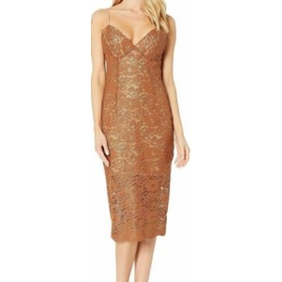 Bardot バルドー ファッション ドレス Bardot Womens Floral Lace Brown Size Medium M Midi Sheath Dress