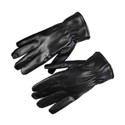 手袋 メンズ 革 レザー グローブ 防寒 裏起毛 スマホ対応 タッチパネル バイク 運転 通勤 (メンズ3 フーリーサイズ)