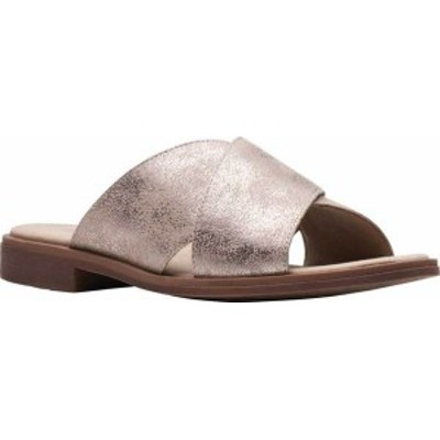 クラークス レディース サンダル シューズ Declan Ivy Cross Strap Slide Pewter Metallic Textile