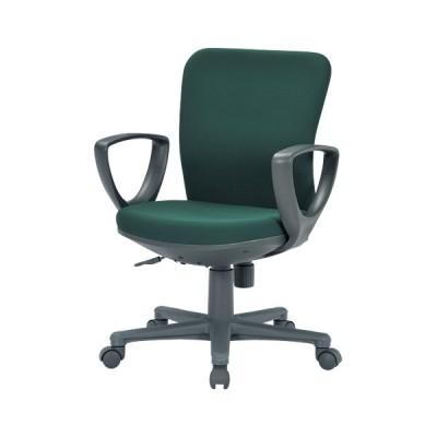 アイコ オフィスチェア ローバックサークル型肘タイプ 布張り OA-1155CJ(FG3) / ダークグリーン / オフィス 家具 / 23050