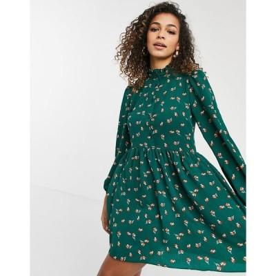 エイソス レディース ワンピース トップス ASOS DESIGN long sleeve button front mini smock dress in floral print Green based floral